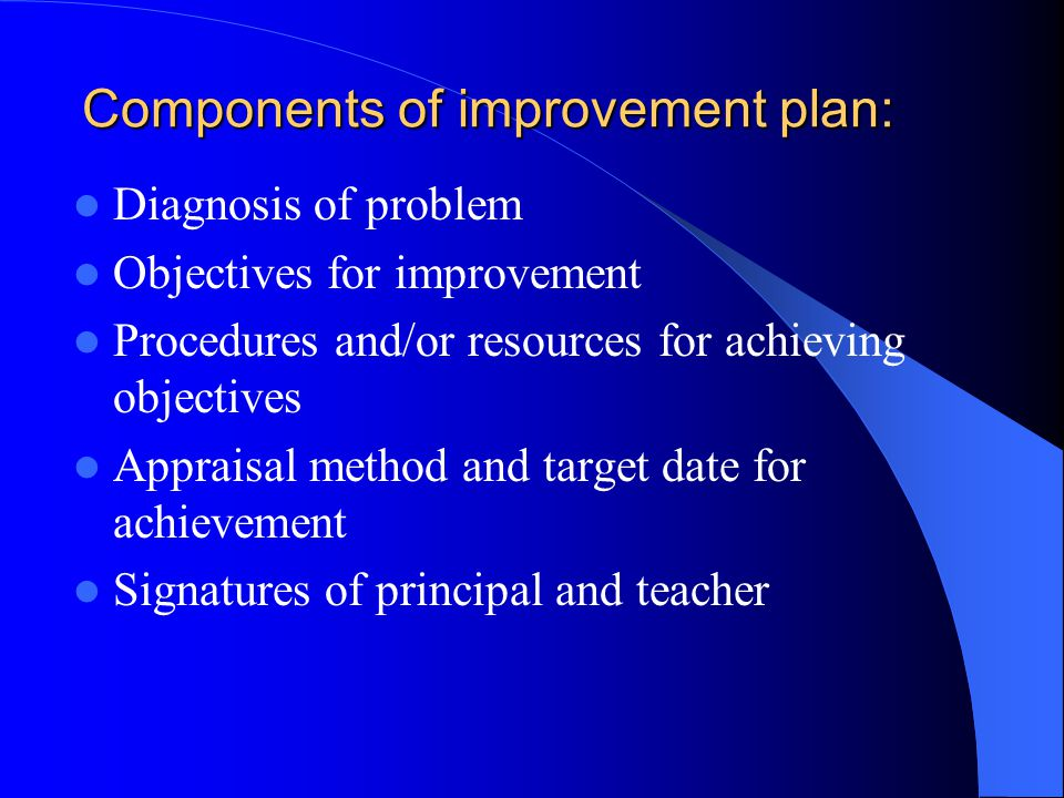 Components of improvement plan: Diagnosis of problem Objectives for improvement Procedures and/or resources for achieving objectives Appraisal method and target date for achievement Signatures of principal and teacher
