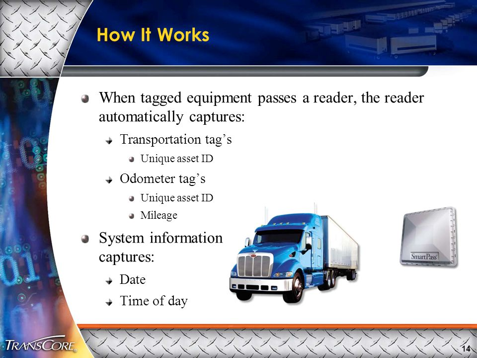 14 How It Works When tagged equipment passes a reader, the reader automatically captures: Transportation tag's Unique asset ID Odometer tag's Unique asset ID Mileage System information captures: Date Time of day