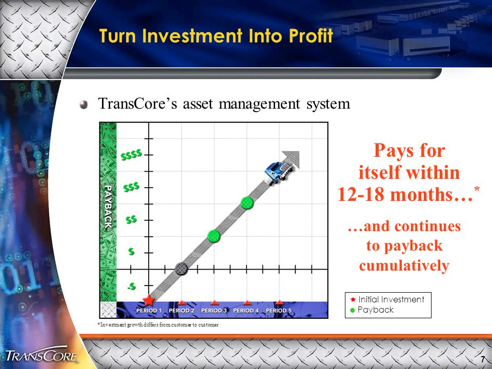 7  Initial Investment  Payback *Investment growth differs from customer to customer Turn Investment Into Profit TransCore's asset management system Pays for itself within 12-18 months… * …and continues to payback cumulatively