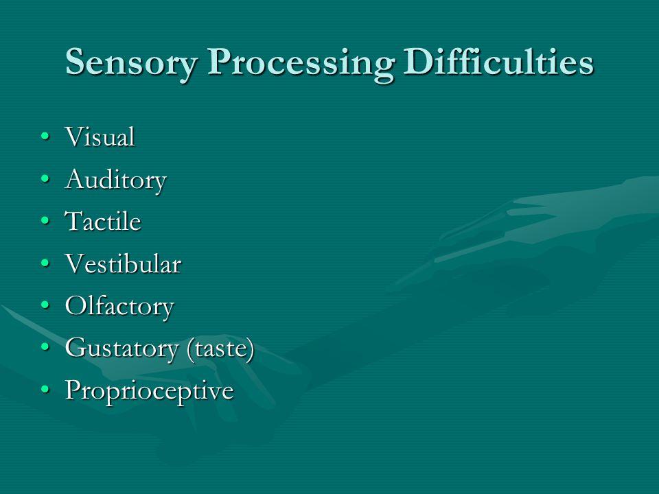 Sensory Processing Difficulties VisualVisual AuditoryAuditory TactileTactile VestibularVestibular OlfactoryOlfactory Gustatory (taste)Gustatory (taste) ProprioceptiveProprioceptive