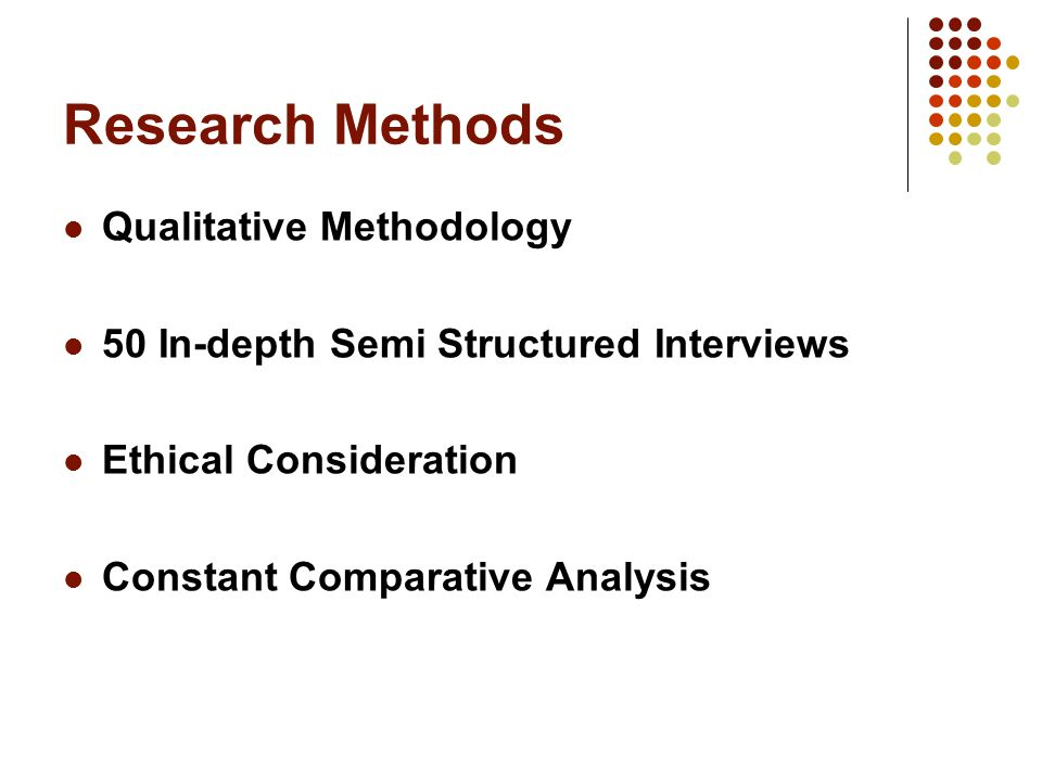 Research Methods Qualitative Methodology 50 In-depth Semi Structured Interviews Ethical Consideration Constant Comparative Analysis