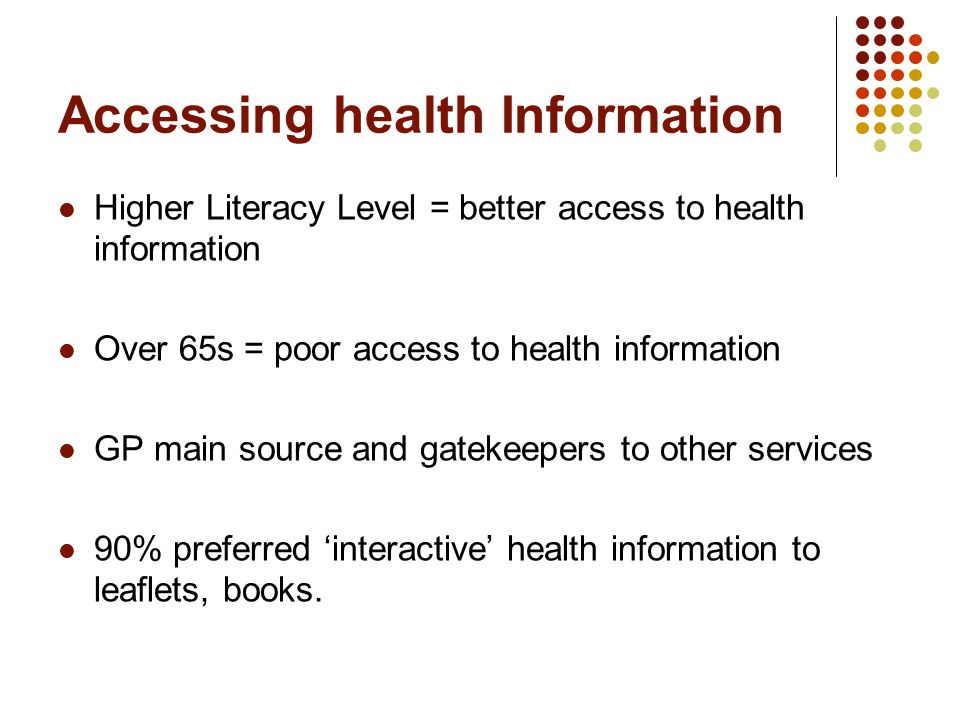 Accessing health Information Higher Literacy Level = better access to health information Over 65s = poor access to health information GP main source and gatekeepers to other services 90% preferred 'interactive' health information to leaflets, books.