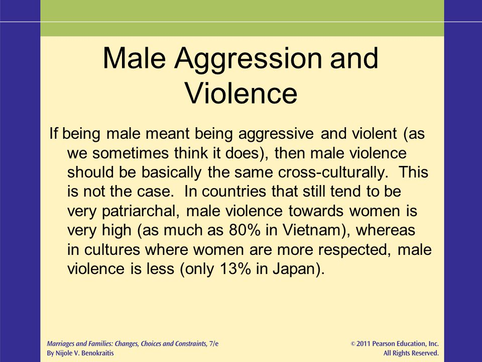 Male Aggression and Violence If being male meant being aggressive and violent (as we sometimes think it does), then male violence should be basically