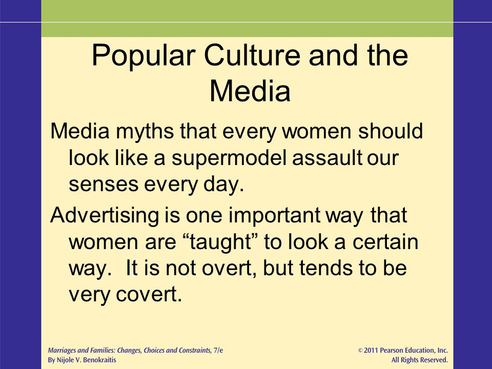 Popular Culture and the Media Media myths that every women should look like a supermodel assault our senses every day. Advertising is one important wa