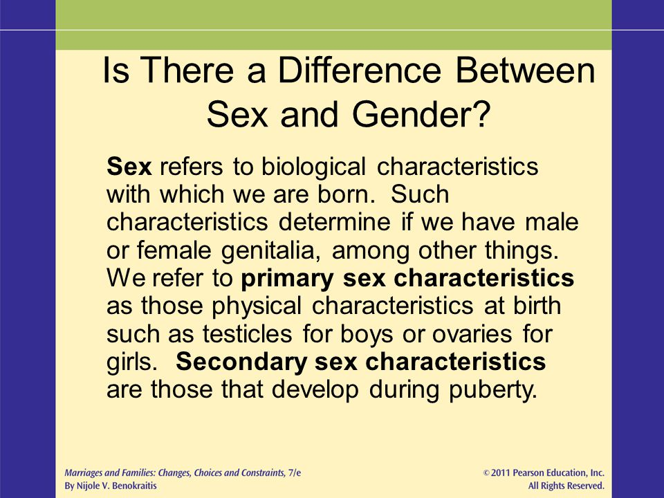 Is There a Difference Between Sex and Gender? Sex refers to biological characteristics with which we are born. Such characteristics determine if we ha