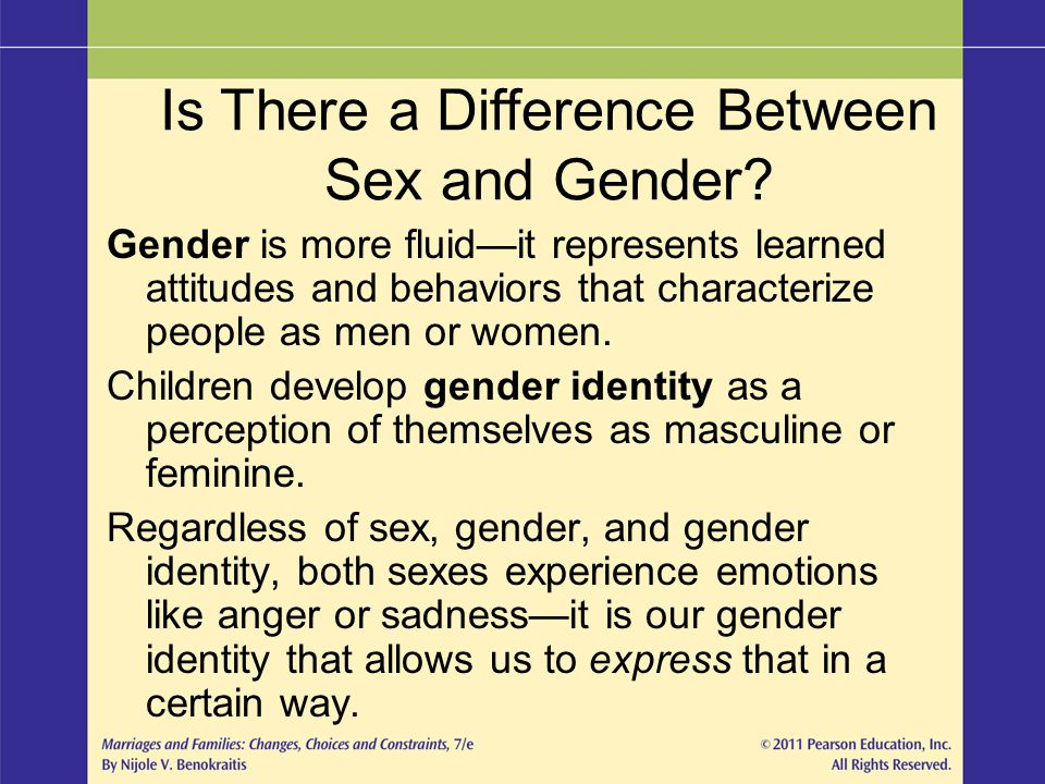 Gender is more fluid—it represents learned attitudes and behaviors that characterize people as men or women. Children develop gender identity as a per