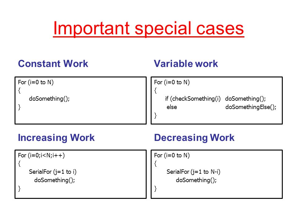 Important special cases Constant WorkVariable work For (i=0;i<N;i++) { SerialFor (j=1 to i) doSomething(); } For (i=0 to N) { SerialFor (j=1 to N-i) doSomething(); } For (i=0 to N) { doSomething(); } For (i=0 to N) { if (checkSomething(i) doSomething(); else doSomethingElse(); } Increasing WorkDecreasing Work
