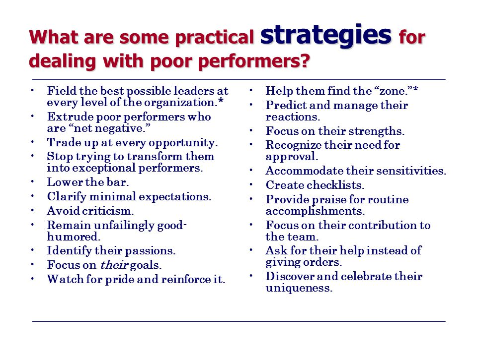What are some practical strategies for dealing with poor performers? Field the best possible leaders at every level of the organization.* Extrude poor