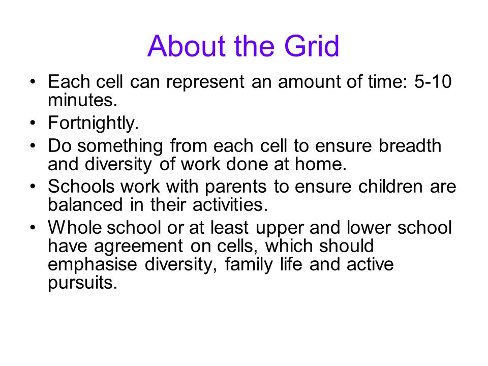 About the Grid Each cell can represent an amount of time: 5-10 minutes.