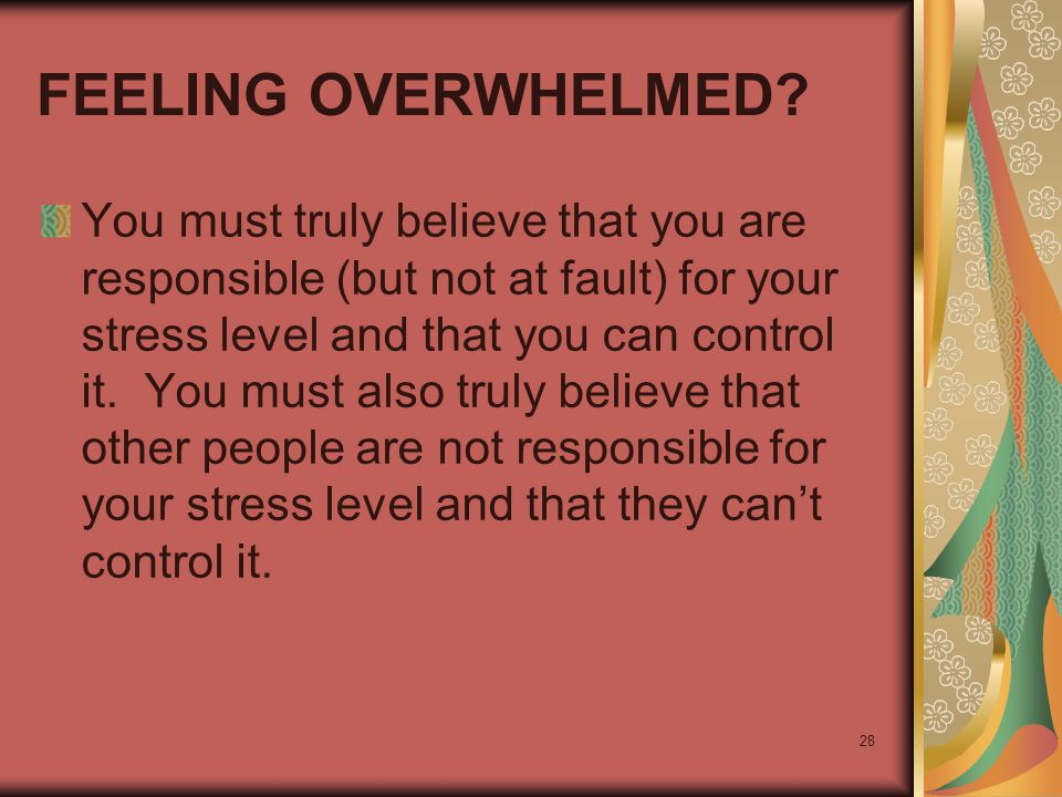 28 FEELING OVERWHELMED? You must truly believe that you are responsible (but not at fault) for your stress level and that you can control it. You must