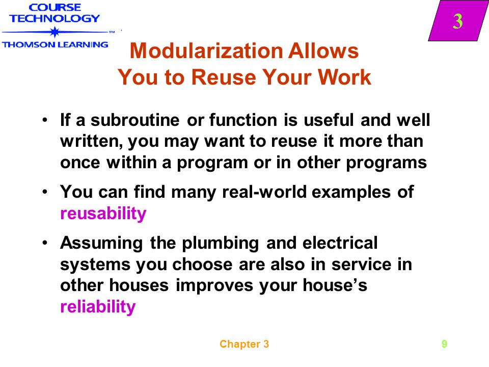3 Chapter 310 Modularization Makes It Easier to Identify Structures When you combine several programming tasks into modules, it may be easier for you to identify structures When you work with a program segment, you may question whether it is structured If you can modularize some of the statements and give them a more abstract group name, it is easier to see that the program involves a major selection and that the program segment is structured