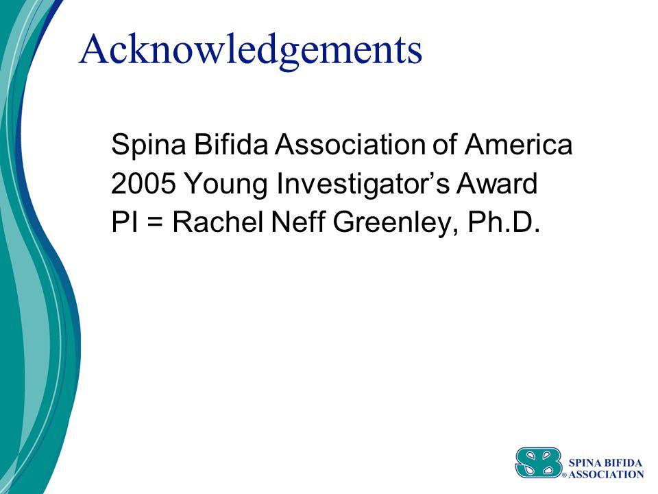 Acknowledgements Spina Bifida Association of America 2005 Young Investigator's Award PI = Rachel Neff Greenley, Ph.D.
