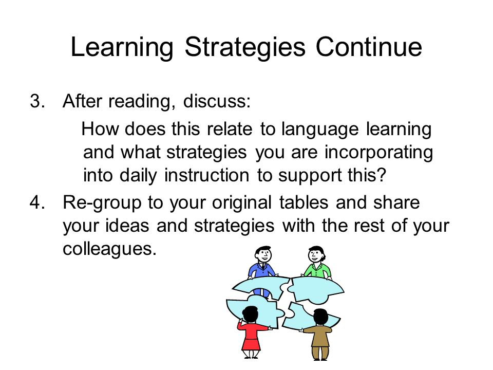 Learning Strategies Continue 3.After reading, discuss: How does this relate to language learning and what strategies you are incorporating into daily
