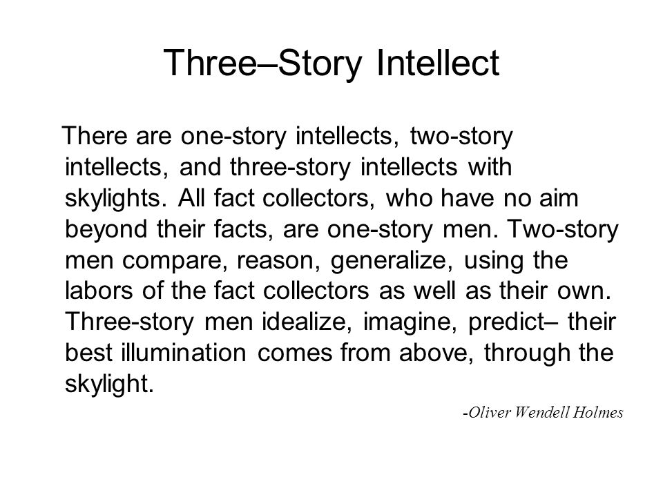 Three–Story Intellect There are one-story intellects, two-story intellects, and three-story intellects with skylights. All fact collectors, who have n