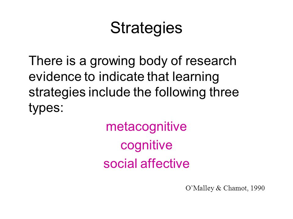 Strategies There is a growing body of research evidence to indicate that learning strategies include the following three types: metacognitive cognitiv