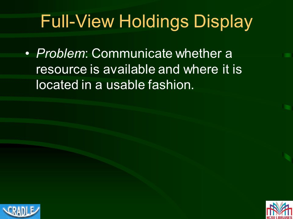 Full-View Holdings Display Problem: Communicate whether a resource is available and where it is located in a usable fashion.