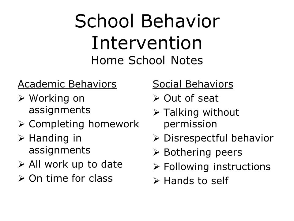 School Behavior Intervention Home School Notes Academic Behaviors  Working on assignments  Completing homework  Handing in assignments  All work up to date  On time for class Social Behaviors  Out of seat  Talking without permission  Disrespectful behavior  Bothering peers  Following instructions  Hands to self