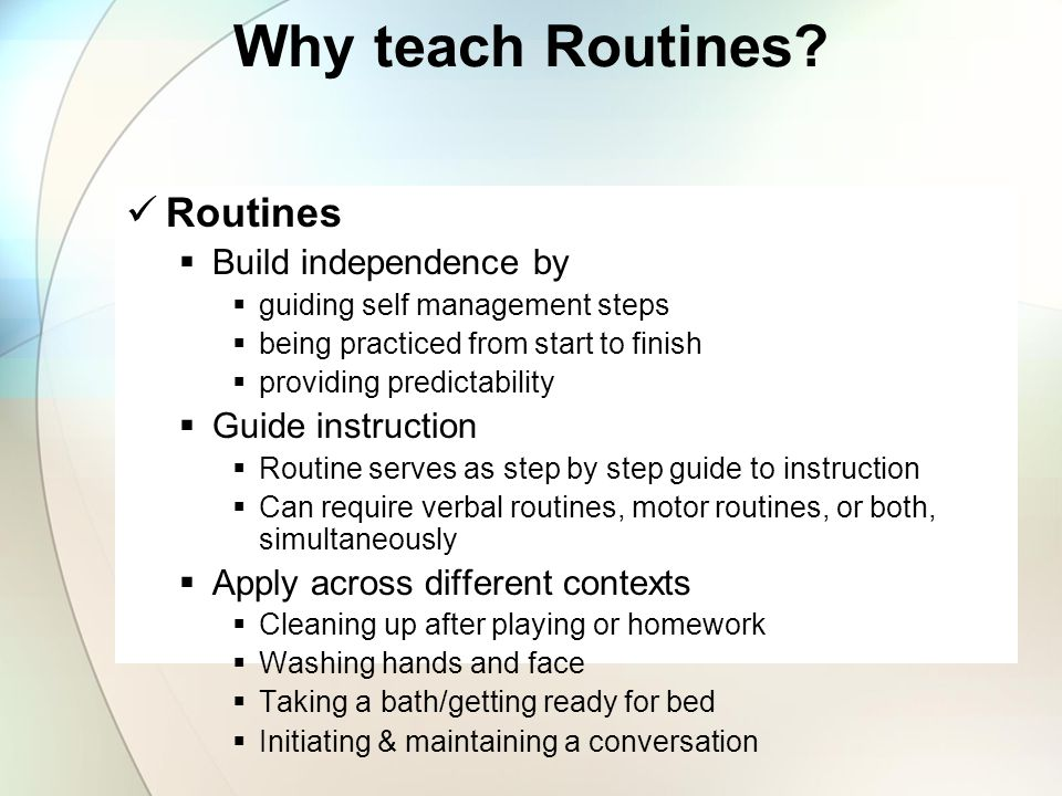Is there a routine that is defined? Is there a clear beginning? Is there a clear sequence to complete the routine? Does the child understand the trans
