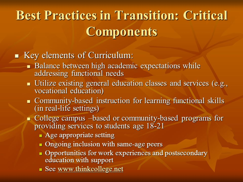 Best Practices in Transition: Critical Components Key elements of Curriculum: Key elements of Curriculum: Balance between high academic expectations w