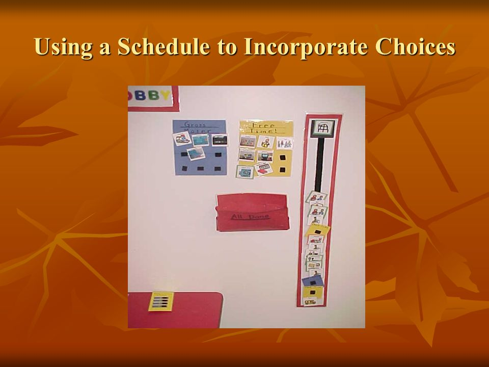 Using a Schedule to Incorporate Choices