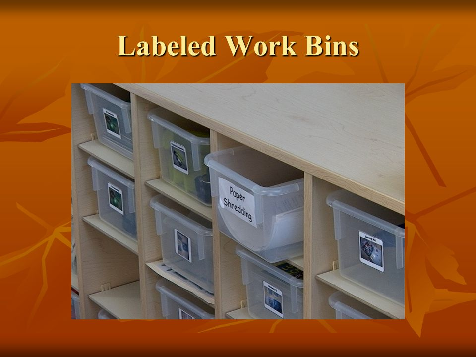 Labeled Work Bins