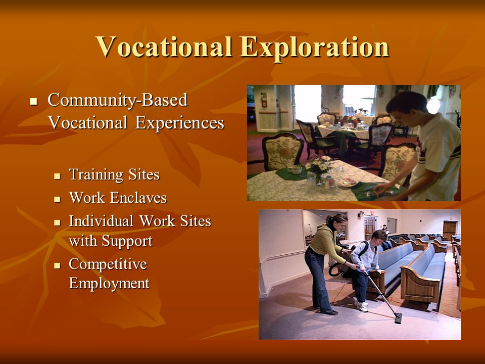 Vocational Exploration Community-Based Vocational Experiences Community-Based Vocational Experiences Training Sites Training Sites Work Enclaves Work Enclaves Individual Work Sites with Support Individual Work Sites with Support Competitive Employment Competitive Employment