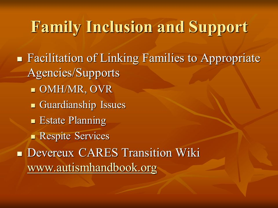Family Inclusion and Support Facilitation of Linking Families to Appropriate Agencies/Supports Facilitation of Linking Families to Appropriate Agencies/Supports OMH/MR, OVR OMH/MR, OVR Guardianship Issues Guardianship Issues Estate Planning Estate Planning Respite Services Respite Services Devereux CARES Transition Wiki www.autismhandbook.org Devereux CARES Transition Wiki www.autismhandbook.org www.autismhandbook.org
