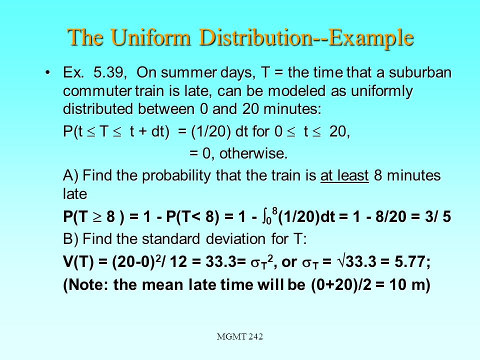 MGMT 242 The Uniform Distribution--Example Ex.