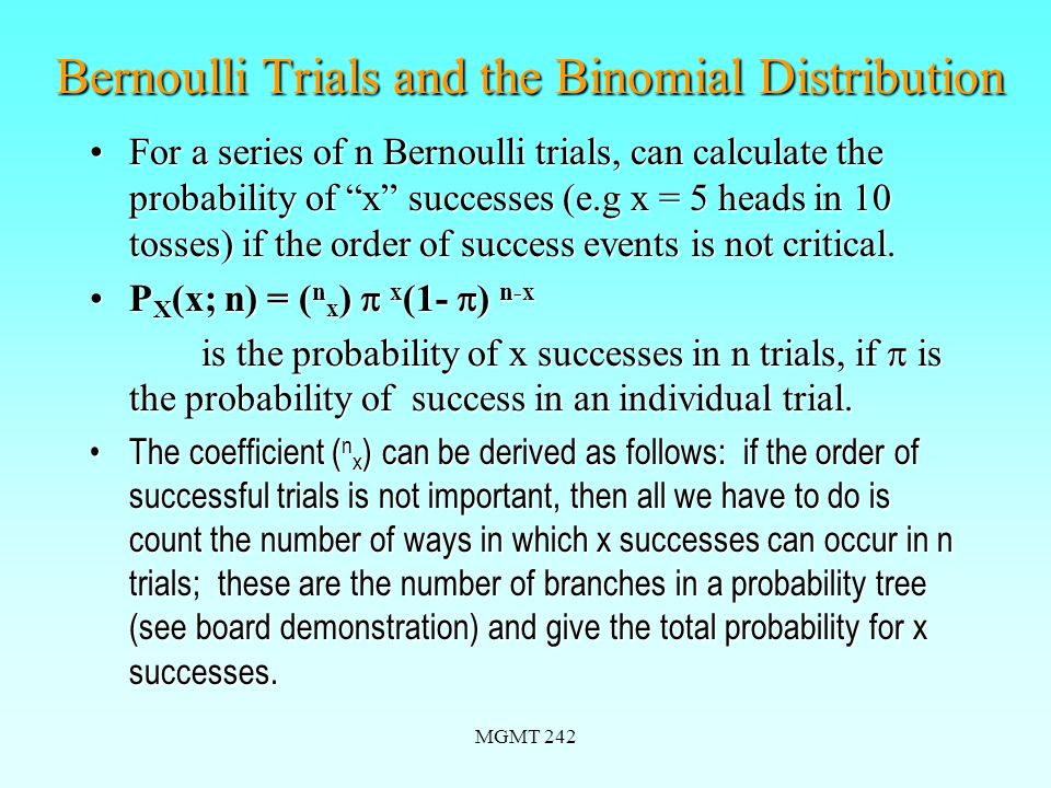MGMT 242 The Binomial Distribution--Example Ex.5.9-11.