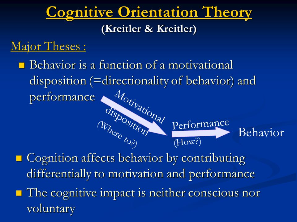 Cognitive Orientation Theory (Kreitler & Kreitler) Behavior is a function of a motivational disposition (=directionality of behavior) and performance Behavior is a function of a motivational disposition (=directionality of behavior) and performance Major Theses : Motivational disposition (Where to ) Performance (How ) Behavior Cognition affects behavior by contributing differentially to motivation and performance Cognition affects behavior by contributing differentially to motivation and performance The cognitive impact is neither conscious nor voluntary The cognitive impact is neither conscious nor voluntary