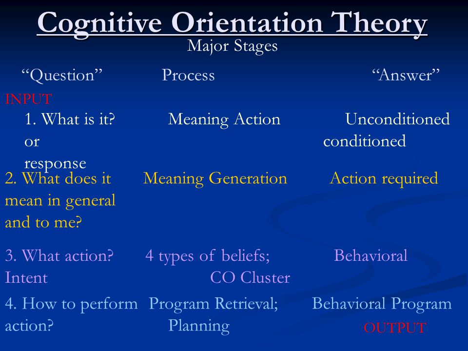 Cognitive Orientation Theory Major Stages Question Process Answer INPUT 1.