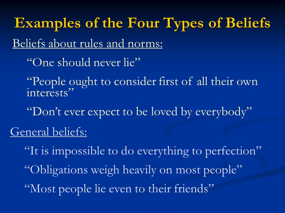 Examples of the Four Types of Beliefs Beliefs about rules and norms: One should never lie People ought to consider first of all their own interests Don't ever expect to be loved by everybody General beliefs: It is impossible to do everything to perfection Obligations weigh heavily on most people Most people lie even to their friends