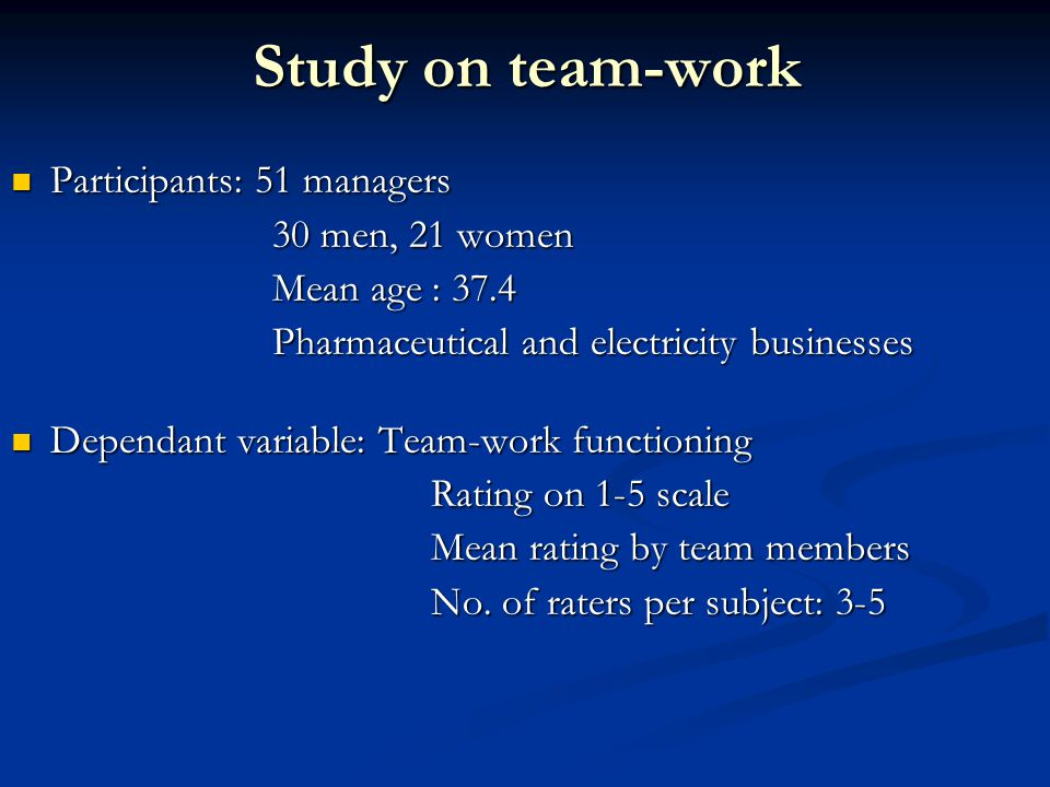 Study on team-work Participants: 51 managers Participants: 51 managers 30 men, 21 women 30 men, 21 women Mean age : 37.4 Mean age : 37.4 Pharmaceutical and electricity businesses Pharmaceutical and electricity businesses Dependant variable: Team-work functioning Dependant variable: Team-work functioning Rating on 1-5 scale Mean rating by team members No.