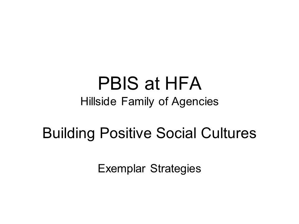 PBIS at HFA Hillside Family of Agencies Building Positive Social Cultures Exemplar Strategies