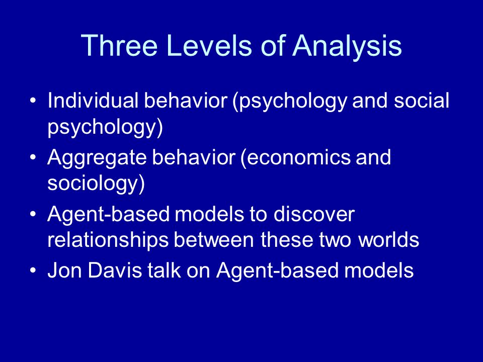 Three Levels of Analysis Individual behavior (psychology and social psychology) Aggregate behavior (economics and sociology) Agent-based models to dis