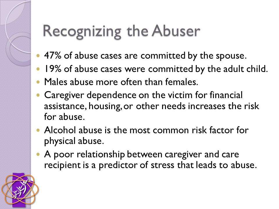Recognizing the Abuser 47% of abuse cases are committed by the spouse.