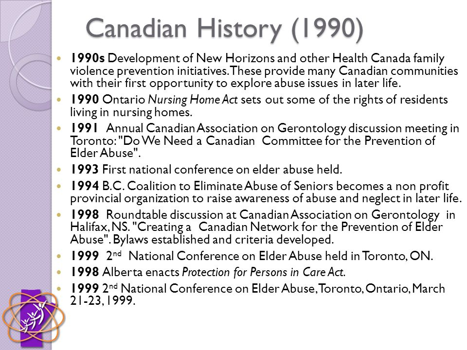 Canadian History (1990) 1990s Development of New Horizons and other Health Canada family violence prevention initiatives.