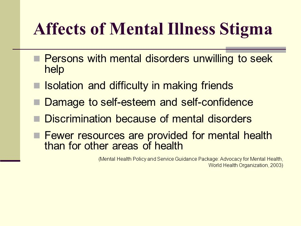 Affects of Mental Illness Stigma Persons with mental disorders unwilling to seek help Isolation and difficulty in making friends Damage to self-esteem and self-confidence Discrimination because of mental disorders Fewer resources are provided for mental health than for other areas of health (Mental Health Policy and Service Guidance Package: Advocacy for Mental Health, World Health Organization, 2003)