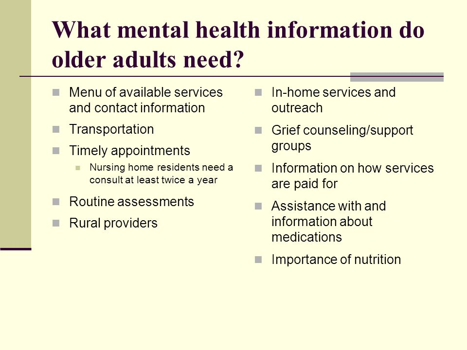 What mental health information do older adults need.