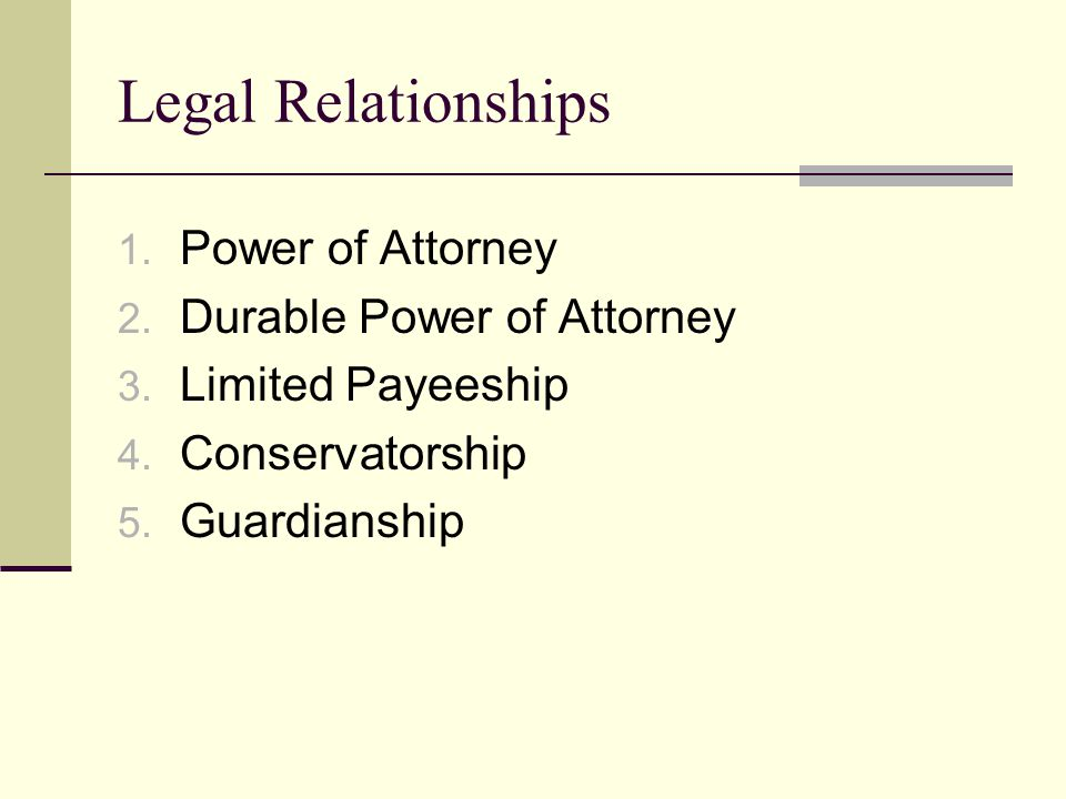 Legal Relationships 1. Power of Attorney 2. Durable Power of Attorney 3.