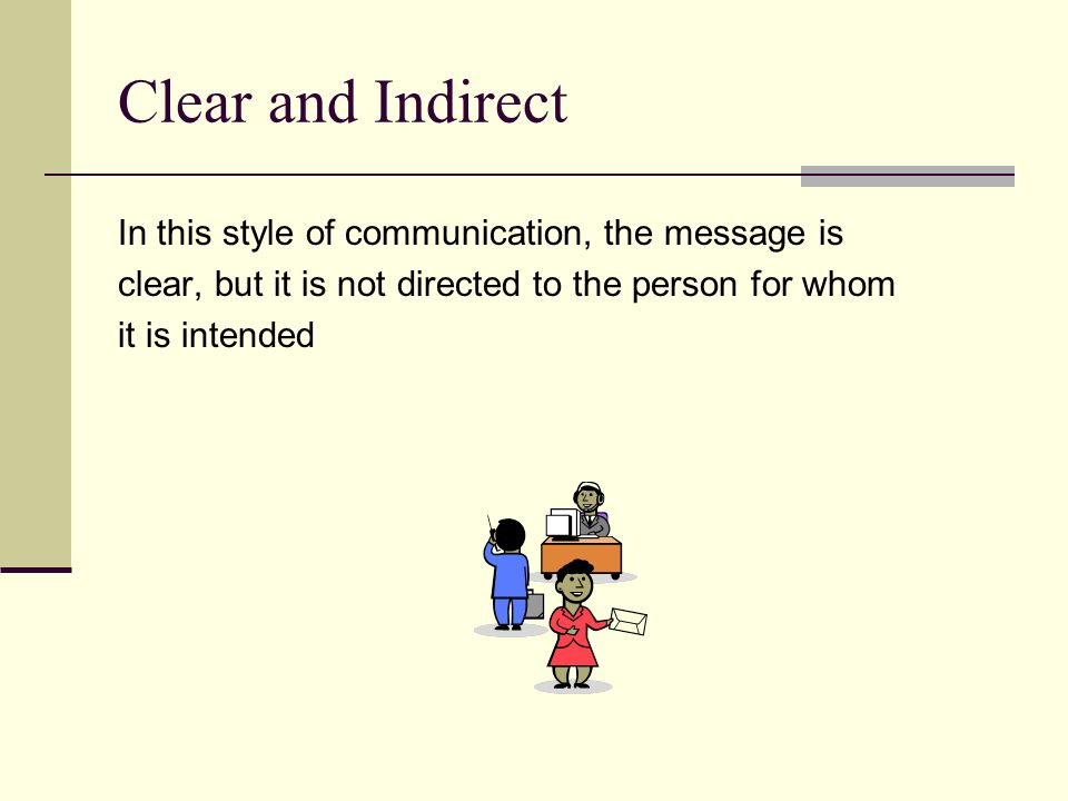 Clear and Indirect In this style of communication, the message is clear, but it is not directed to the person for whom it is intended