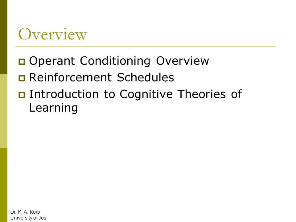 Operant Conditioning: Maintaining Behavior Dr. K. A. Korb University of Jos