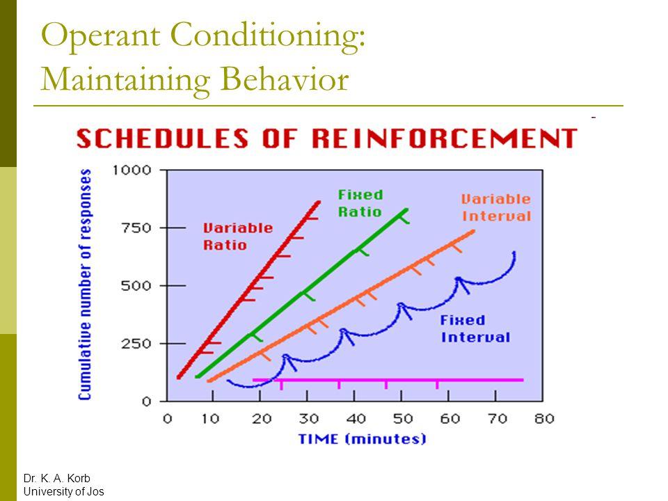 Operant Conditioning: Maintaining Behavior Dr. K. A. Korb University of Jos