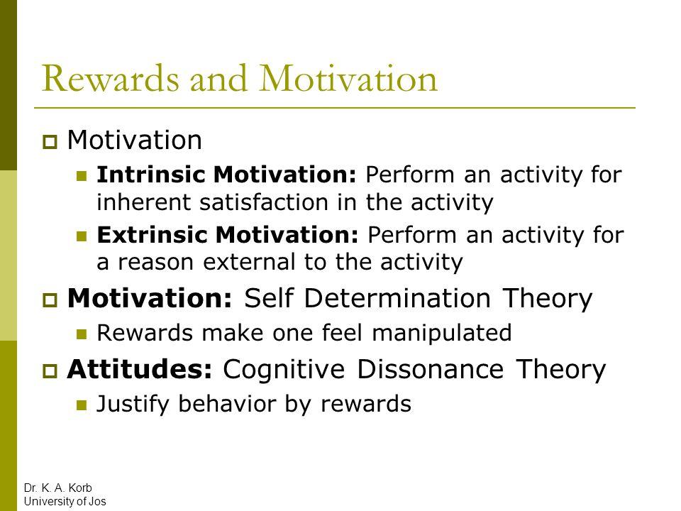 Rewards and Motivation  Motivation Intrinsic Motivation: Perform an activity for inherent satisfaction in the activity Extrinsic Motivation: Perform
