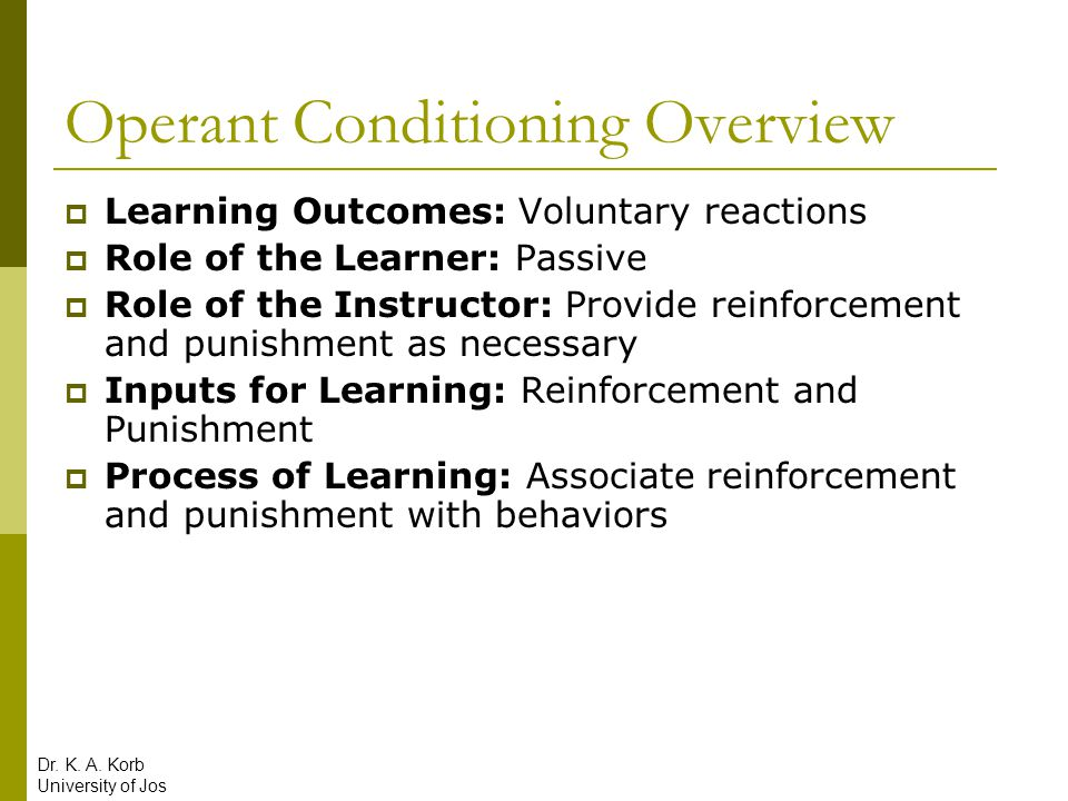Operant Conditioning Overview  Learning Outcomes: Voluntary reactions  Role of the Learner: Passive  Role of the Instructor: Provide reinforcement