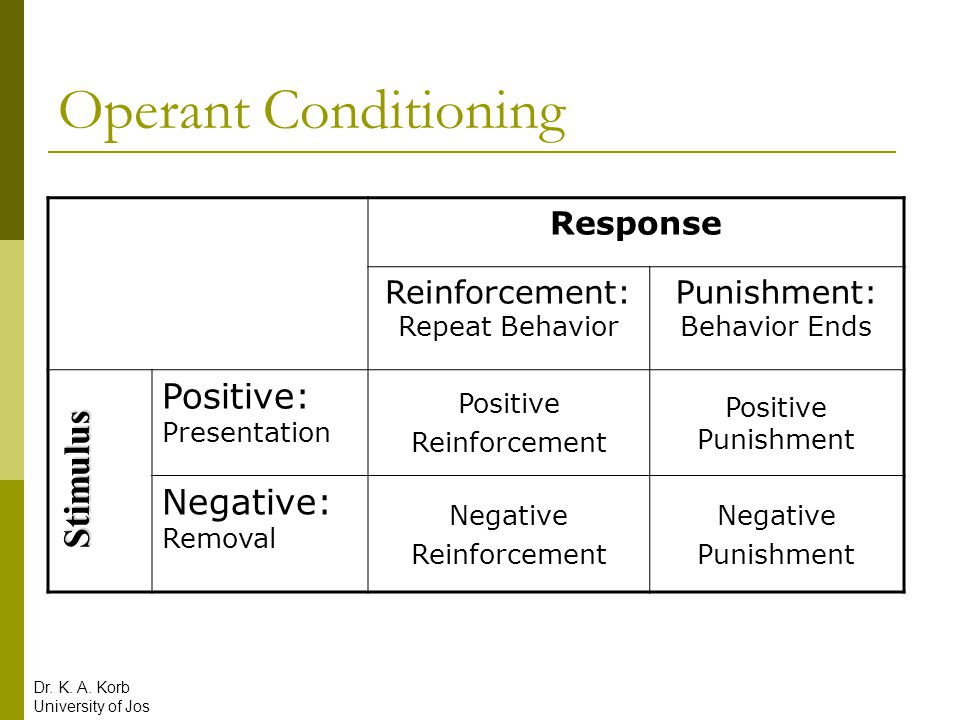 Operant Conditioning Response Reinforcement: Repeat Behavior Punishment: Behavior Ends Positive: Presentation Positive Reinforcement Positive Punishme