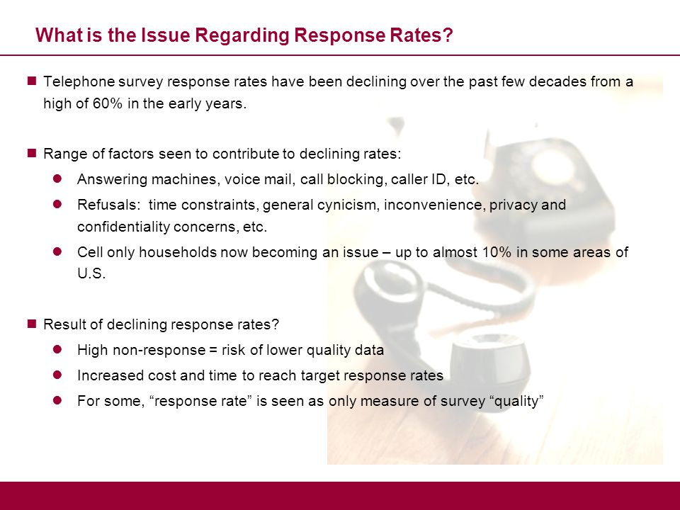 Response Rate Not the Only Factor in Determining Survey Quality Apart from Response Rates, There Are Many Other Factors Affecting Survey Quality Sampling errors  Universe definition  Sample design  Sample source Non-sampling errors  Data collection methods  Interviewers, coders, data processing  Respondent boredom  Analysis