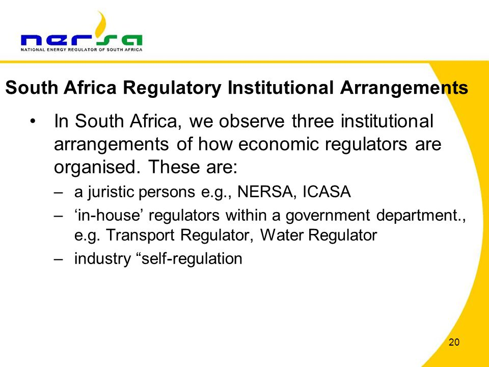 20 In South Africa, we observe three institutional arrangements of how economic regulators are organised.