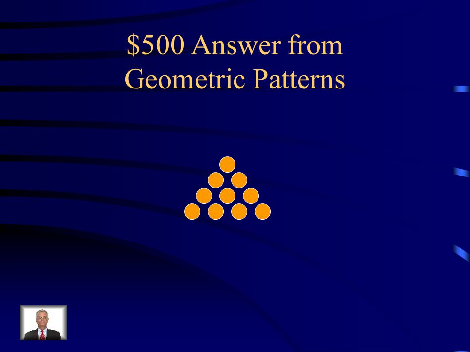 $500 Question from Geometric Patterns What would the next picture in this pattern look like