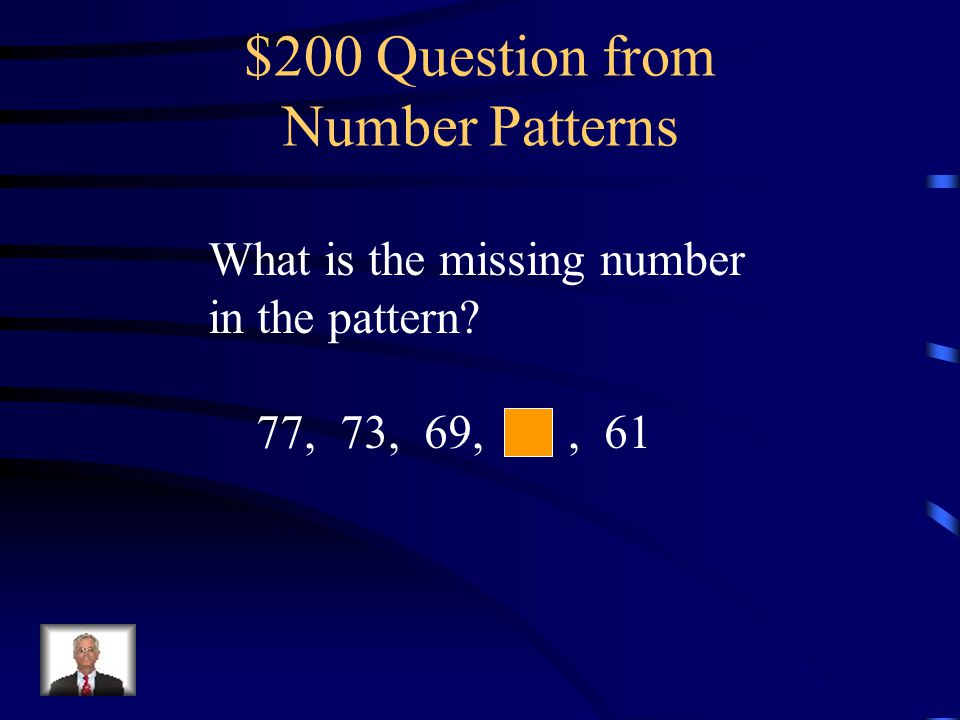 $200 Question from Geometric Patterns What is the missing color in the pattern?